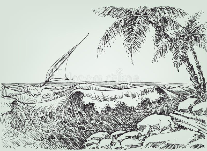 Havet vinkar teckningen stock illustrationer