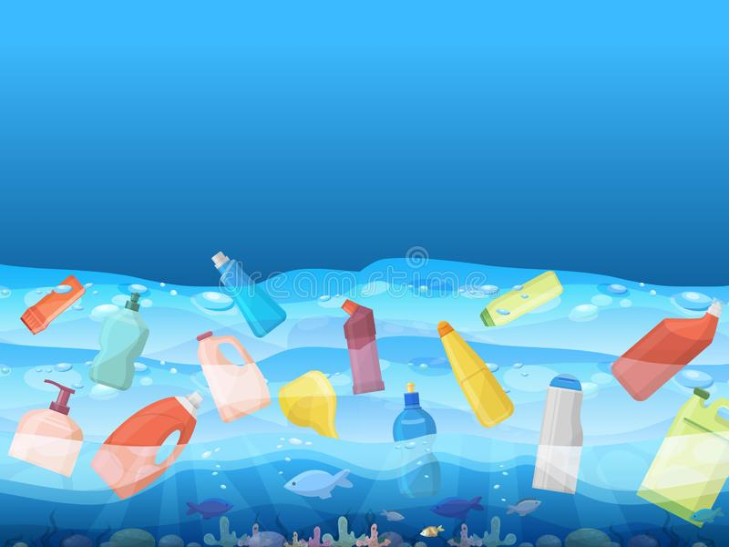 Havförorening med bild av att sväva plastpåsen och fisken inom banervektorillustration Ekologi som är miljö- royaltyfri illustrationer
