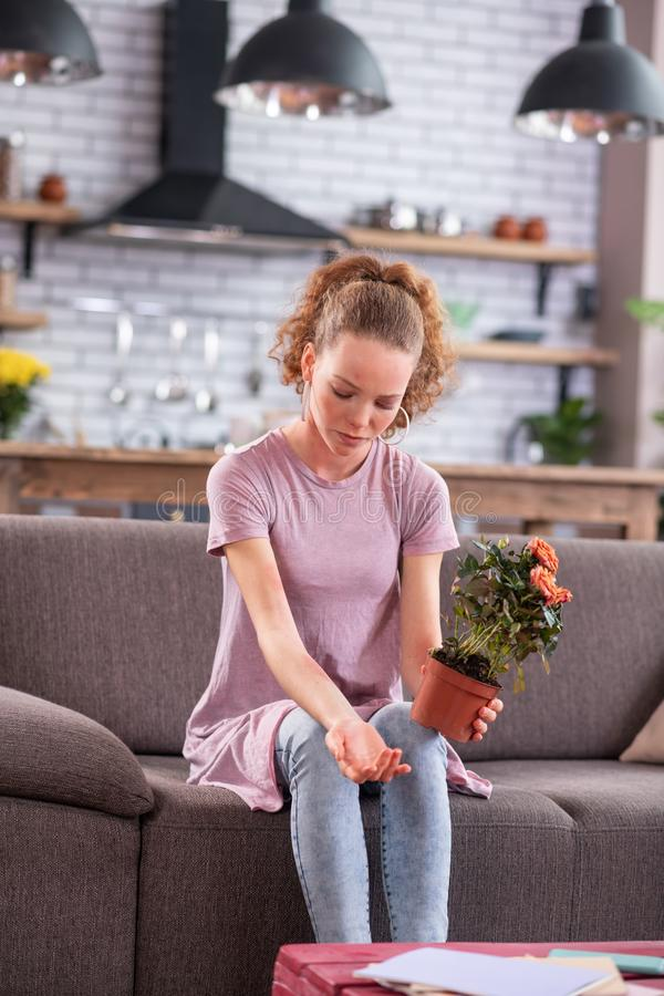 Miserable ginger young lady sitting on grey couch with pot royalty free stock photography
