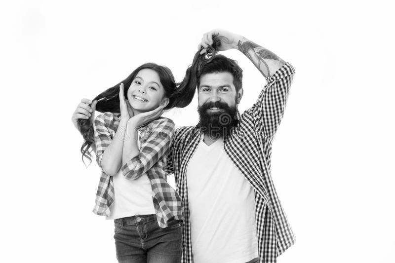 Having fun. Bearded man father with daughter. Father and daughter. Bearded man dad. Little girl love her father. Happy royalty free stock photo
