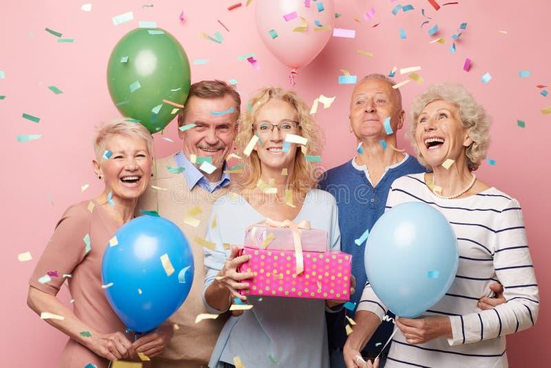 Having fun at birthday party stock photo