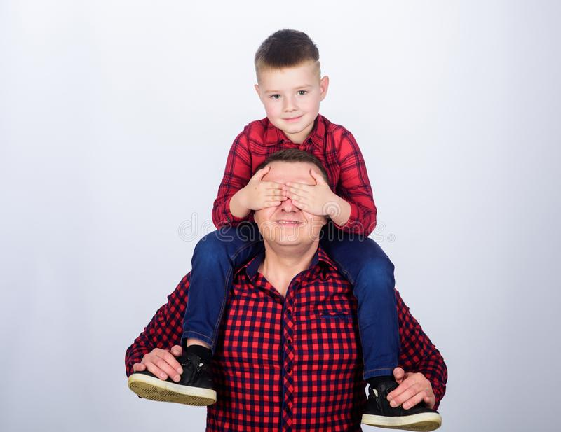 Having fun. Happiness being father of boy. Fathers day. Father example of noble human. Best friends forever. Father. Little son red shirts family look outfit stock photo