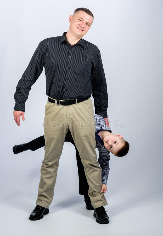 Having fun. happy child with father. business partner. childhood. trust and values. fathers day. family day. father and. Son in business suit. male fashion stock photos