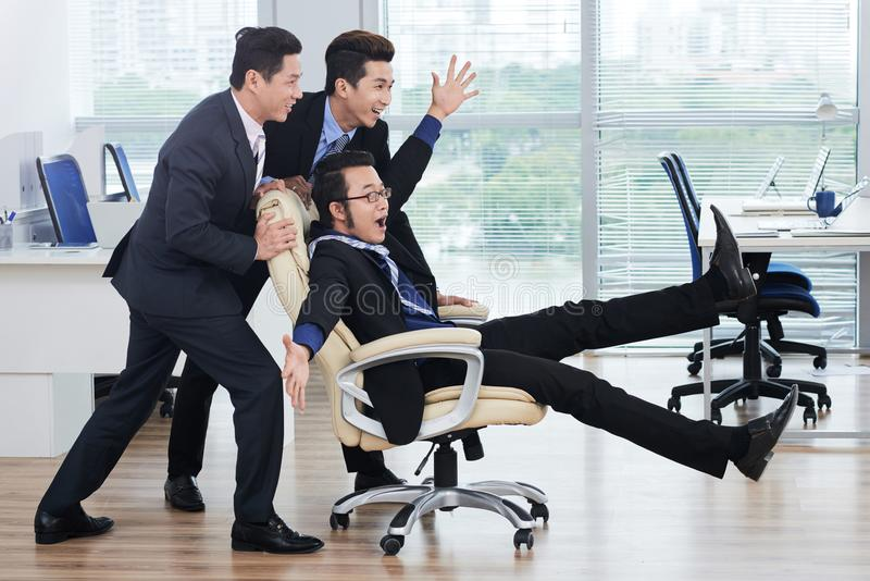 Having Fun with Joyful Colleagues royalty free stock images