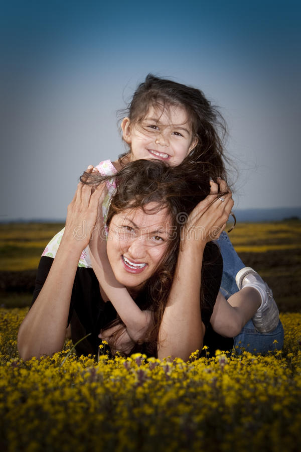Download Having fun with mom stock image. Image of meadow, dress - 13808111