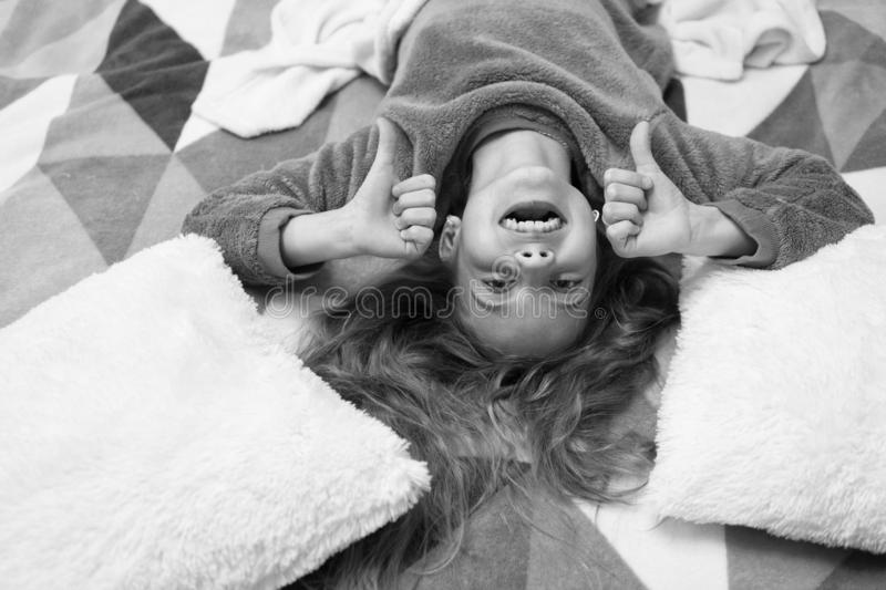 Having fun. Pajama party. Good night. Little happy girl in bedroom. Childhood happiness. Good morning. International. Childrens day. Small girl child ready to royalty free stock photo