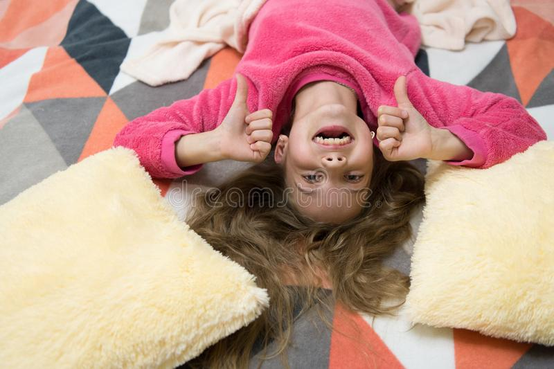Having fun. Pajama party. Good night. Little happy girl in bedroom. Childhood happiness. Good morning. International. Childrens day. Small girl child ready to royalty free stock photography