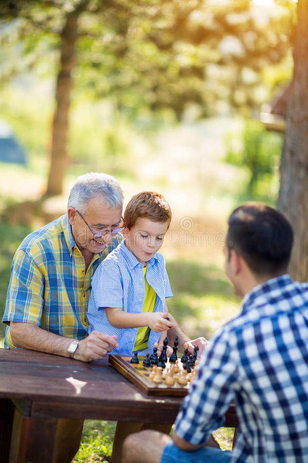 Having fun and playing chess royalty free stock image