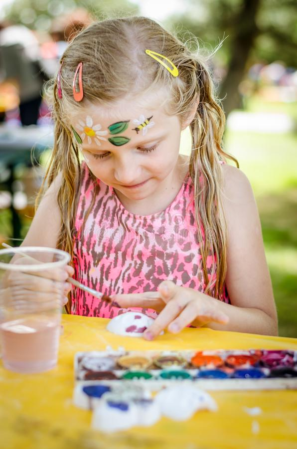 Having fun and relax with colors at the children summer party royalty free stock photo