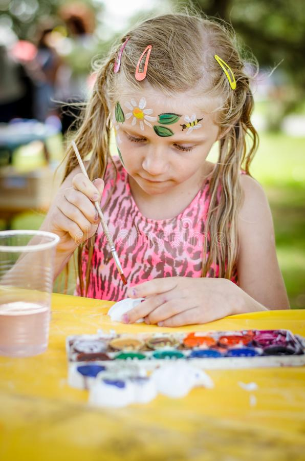 Having fun and relax with colors at the children summer party royalty free stock image