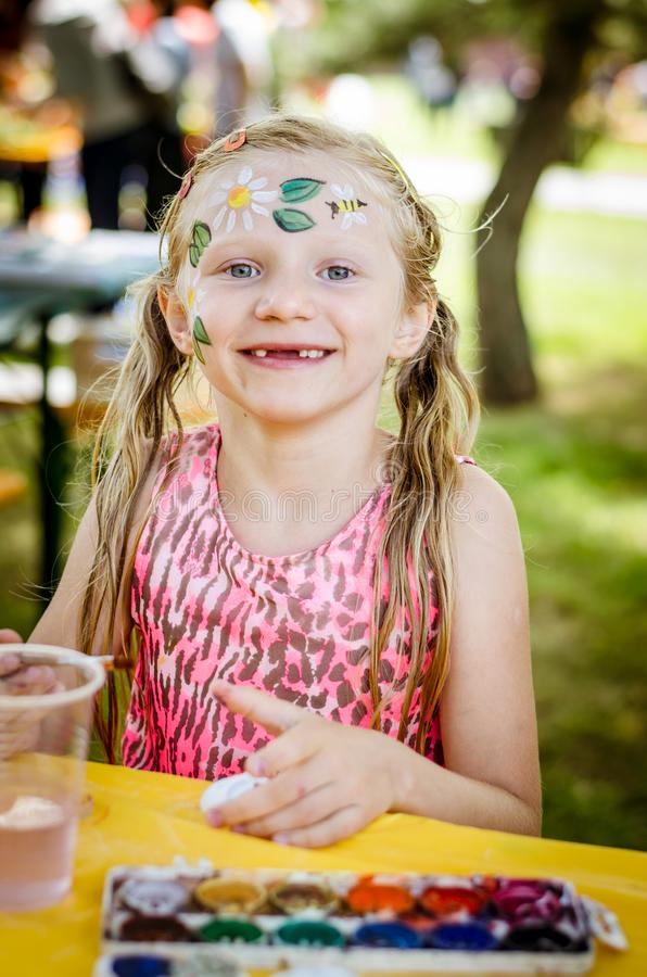 Having fun and relax with colors at the children summer party stock photography