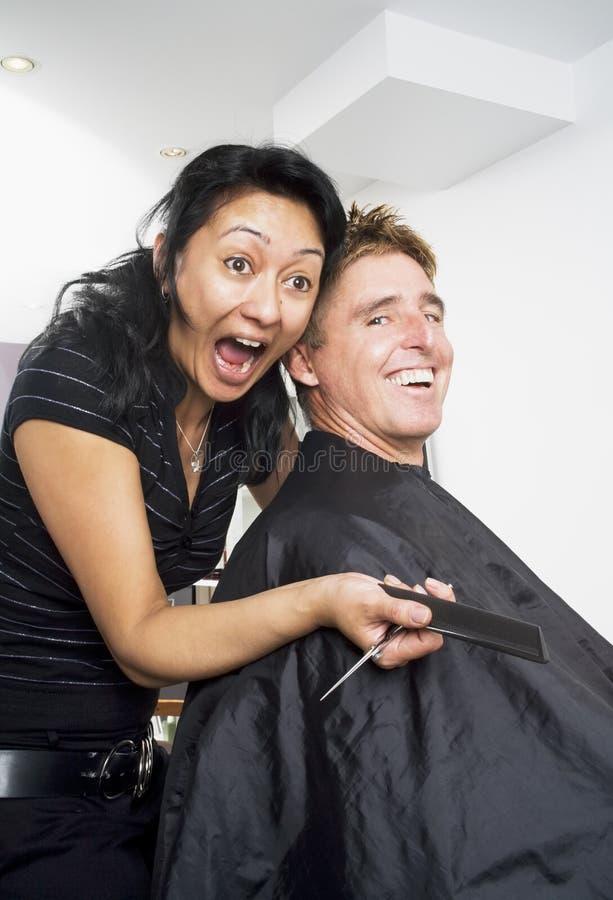 Having fun at the salon stock photo