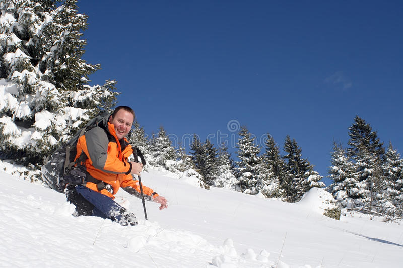 Having fun in the snow stock images