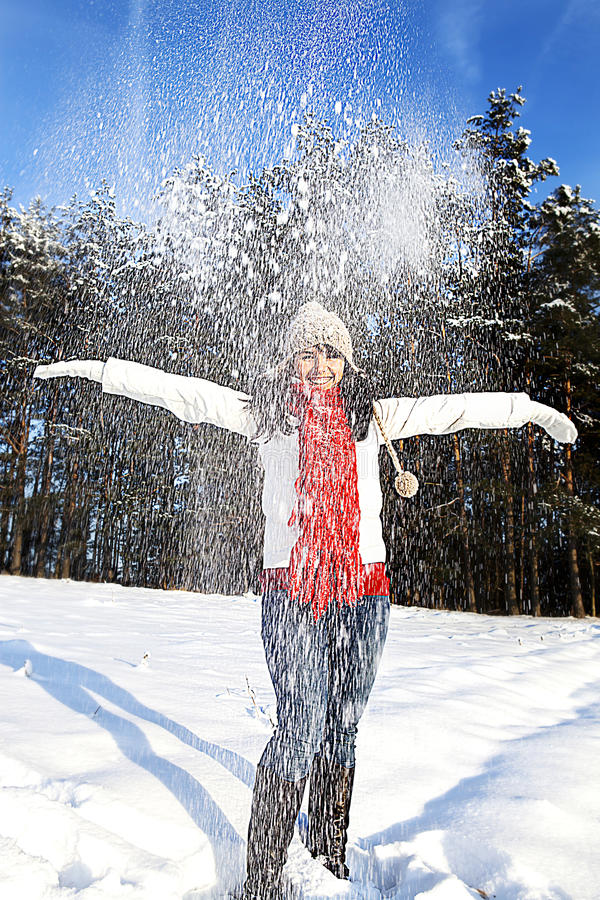 Having fun in winter scene royalty free stock image