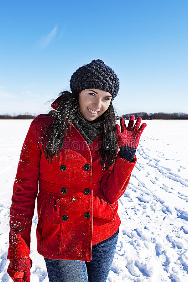 Having fun in winter scene royalty free stock photography