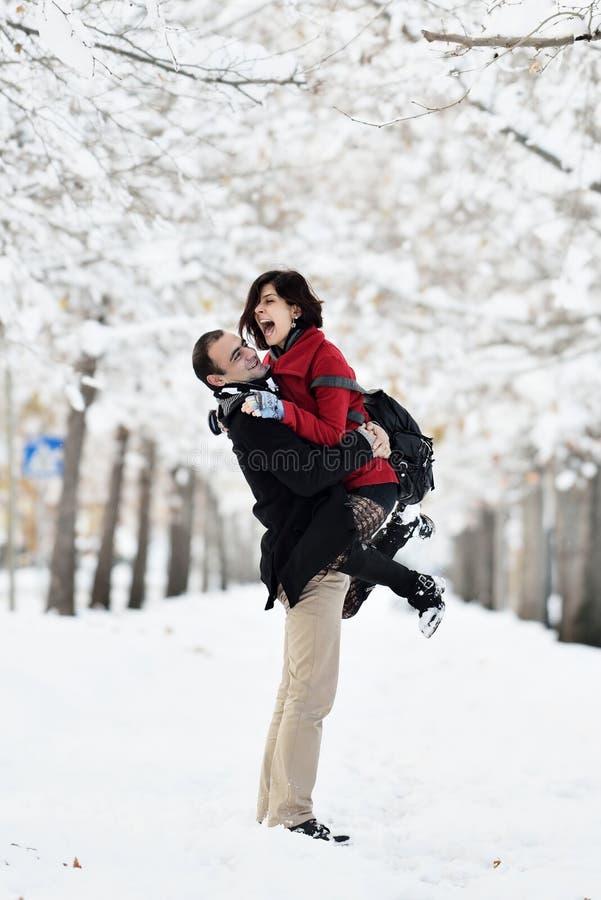 Having fun in winter scene royalty free stock photography