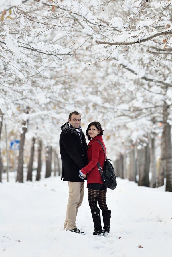 Having fun in winter scene stock image