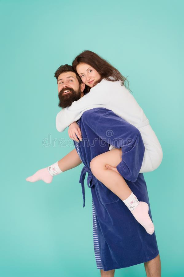 Having fun. woman and bearded man in robe. Perfect morning. Happy family. romantinc couple in love. romantic family. Having fun. women and bearded men in robe royalty free stock photography