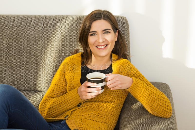 Having a good time with a coffee stock photo