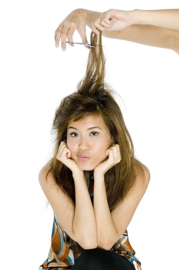 Having Hair Cut royalty free stock image