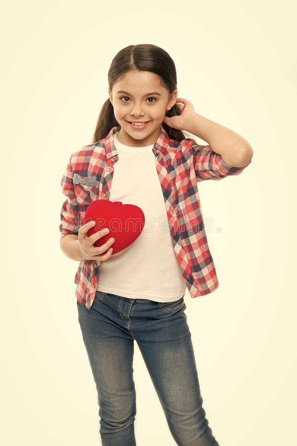 Having heart problem and heartache. Little girl holding red heart. Little child expressing love on valentines day. Cute. Girl in love. Happy valentines day stock photography