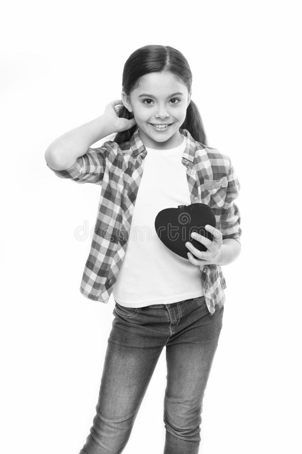 Having heart problem and heartache. Little girl holding red heart. Little child expressing love on valentines day. Cute. Girl in love. Happy valentines day stock images