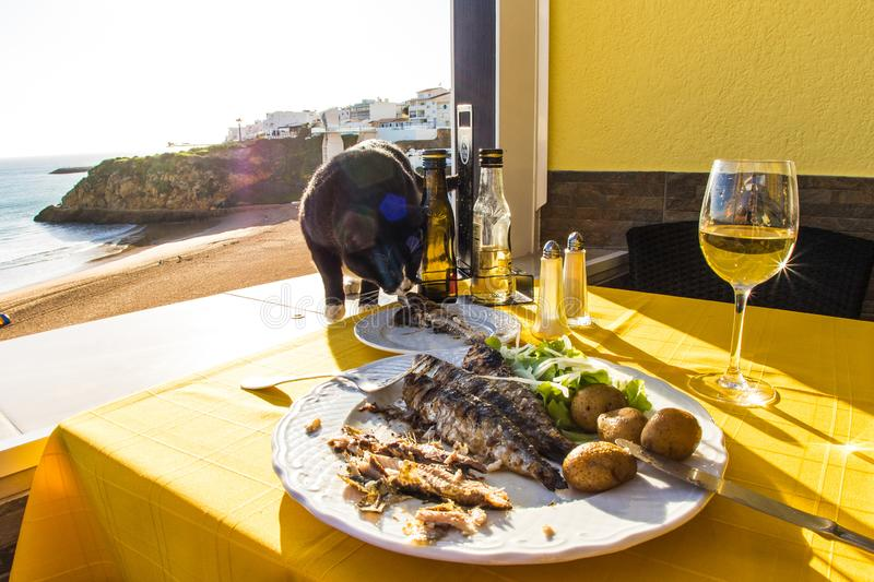Having lunch in Albufeira harbor royalty free stock images
