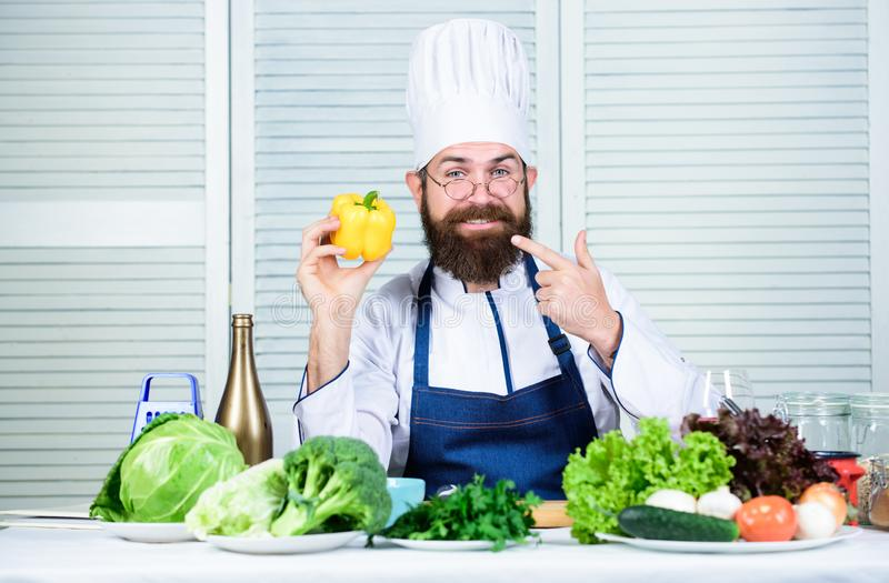 Having lunch. Bearded man cook in kitchen, culinary. Vegetarian. Mature chef with beard. Dieting and organic food stock photo