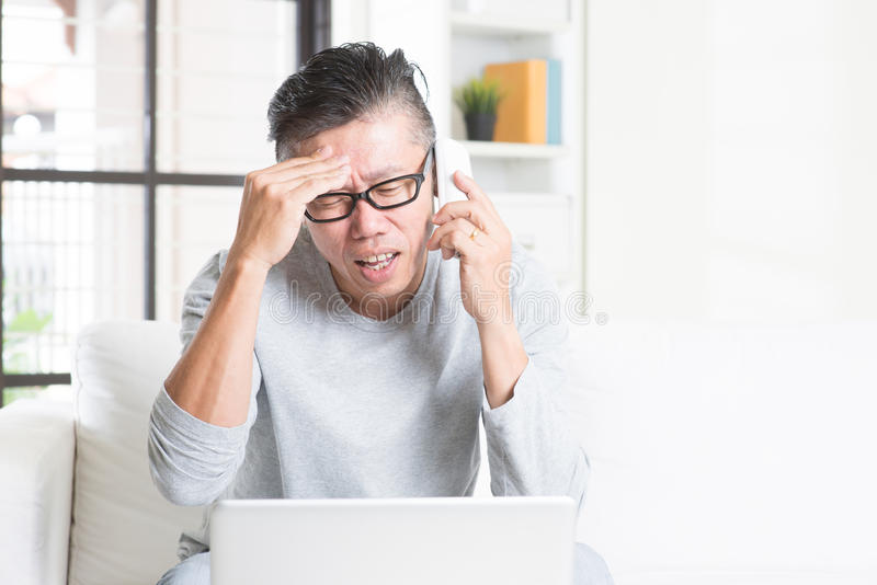 Having problems while working from home stock photos