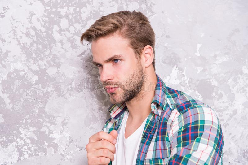 Having some thoughts. mens sensuality. sexy guy casual style. macho man grunge background. male fashion collection. Charismatic student checkered shirt royalty free stock image