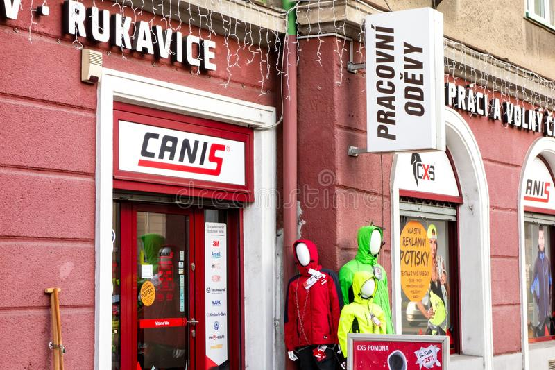 The entrance to the Canis retail shop which sells work clothing, various clothes, shoes and other stuff for protection when royalty free stock photo