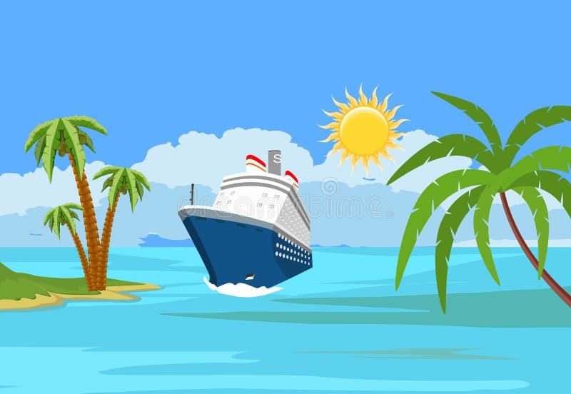 Havlandskap, blå kryssningeyeliner, vektor illustrationer