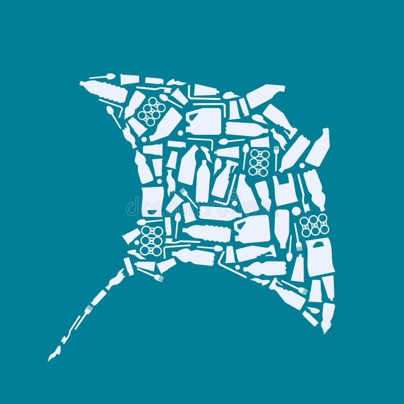 Havplast-förorening Ekologisk affischskridskofisk som komponeras av den vita plast- förlorade påsen, flaska på blå bakgrund plast vektor illustrationer