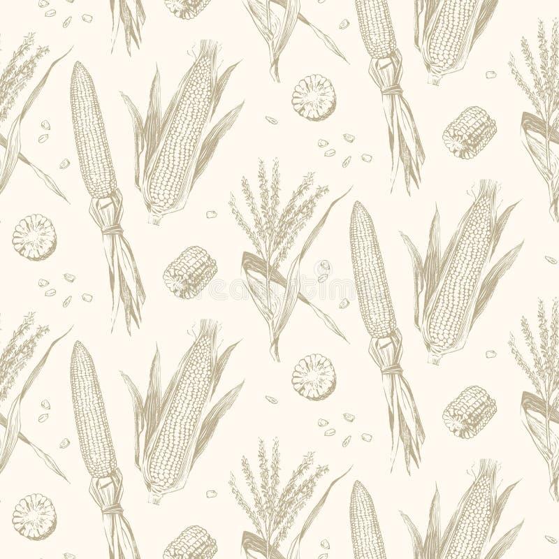 Havre på den sömlösa modellen för majskolvtappningdesign stock illustrationer