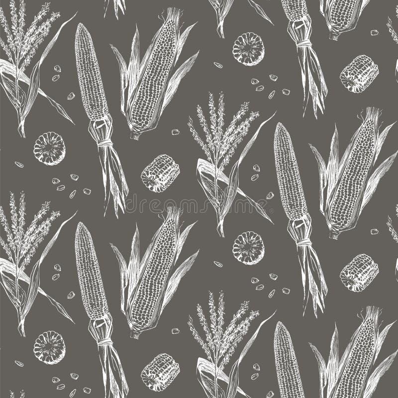Havre på den sömlösa modellen för majskolvtappningdesign royaltyfri illustrationer