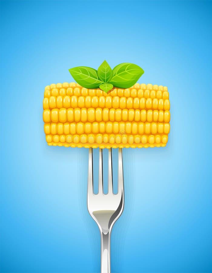 Havremajskolv på gaffeln Organisk mat vektor illustrationer