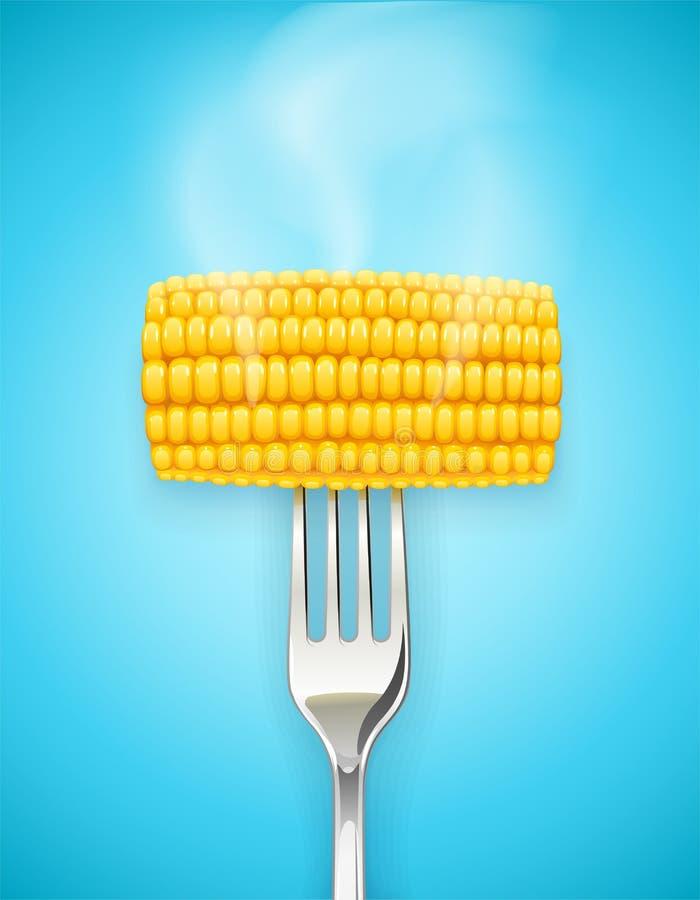 Havremajskolv på gaffeln Organisk mat royaltyfri illustrationer