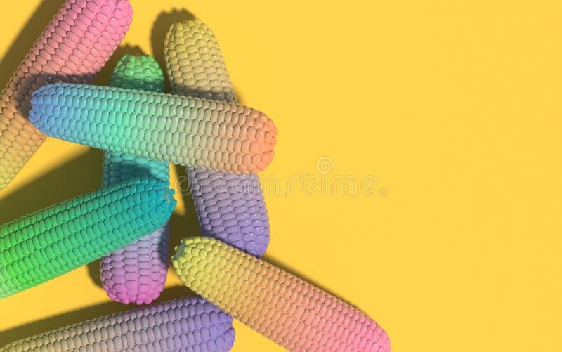 Havremajskolvar i holographic neonfärger för vibrerande djärv lutning id?rik sammans?ttning Begreppskonst framf?rande 3d royaltyfri illustrationer
