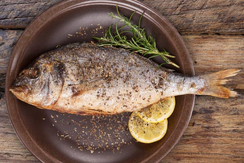 Havs- äta Grillad fisk på plattan från över arkivbild