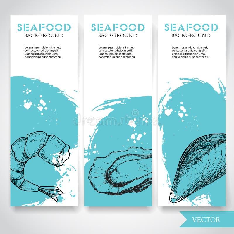 Havs- baner med vattenfärgblåttbakgrund och hand dragen mat Skissa det förberedda räka-, ostron- och musslaskalet restaurang vektor illustrationer