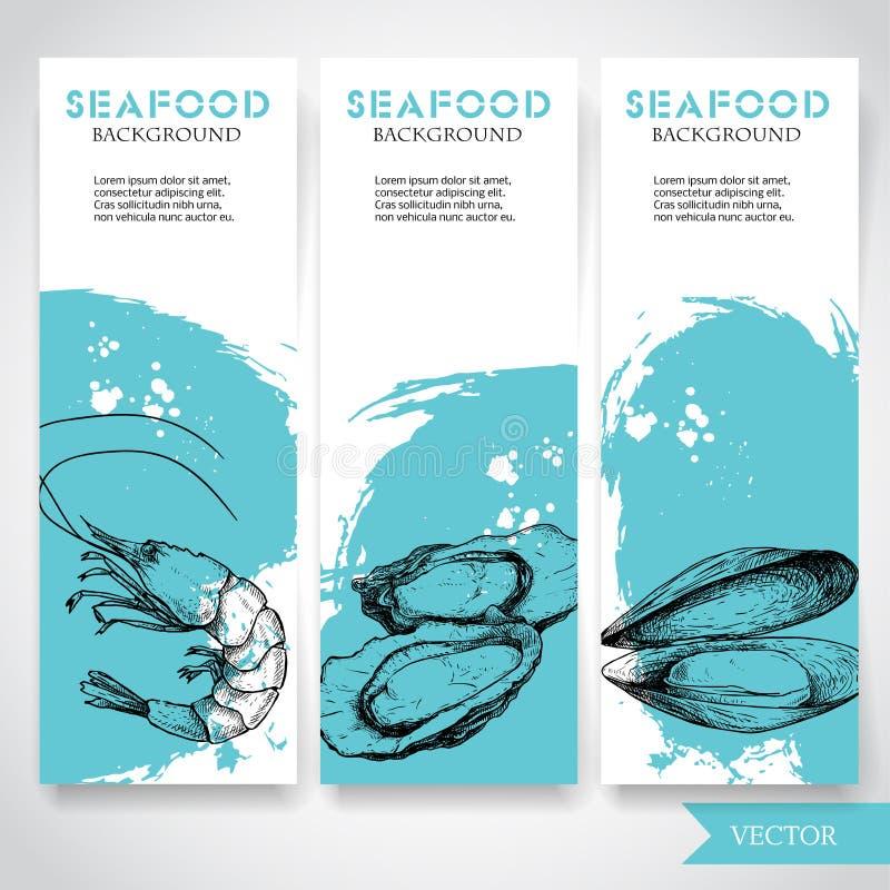 Havs- baner med vattenfärgblåttbakgrund och hand dragen mat Skissa förberedd räka, ostron och musslaskalet Restaurang a royaltyfri illustrationer