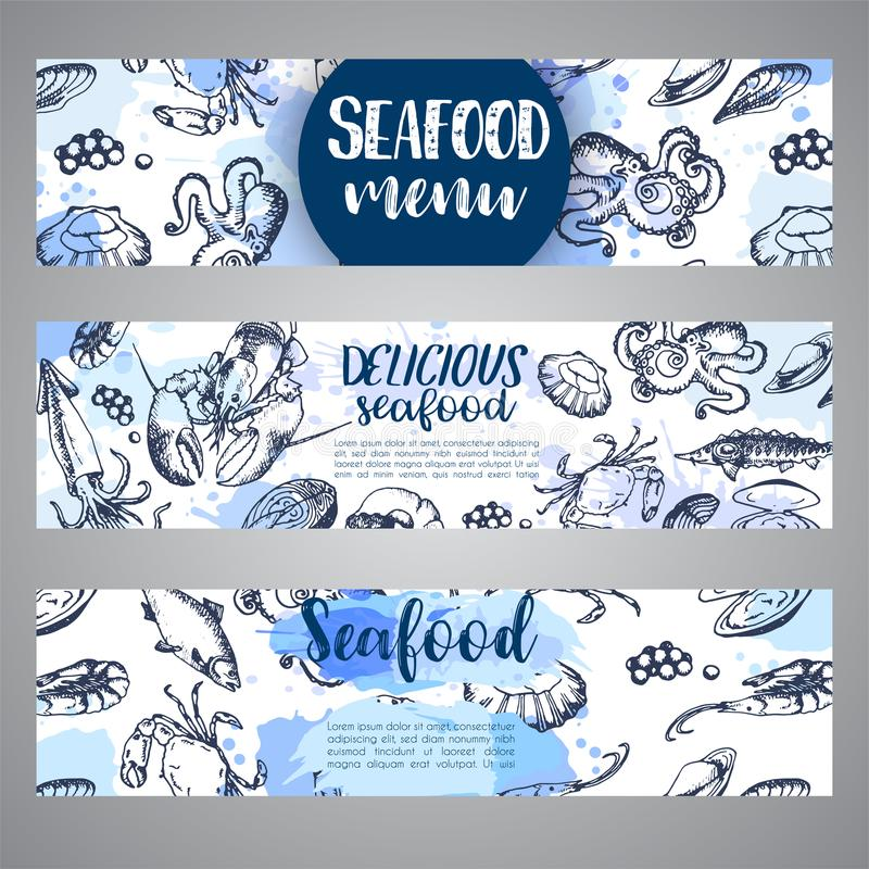 Havs- banermalluppsättning Hand drog vektorillustrationer Havfisk i inristad stil Skissa av krabban, hummer vektor illustrationer