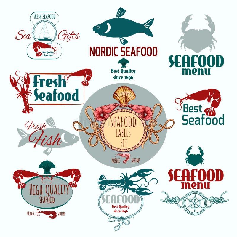Havs- etikettuppsättning stock illustrationer