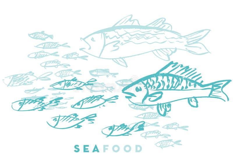 Havs- fisk och våg royaltyfri illustrationer