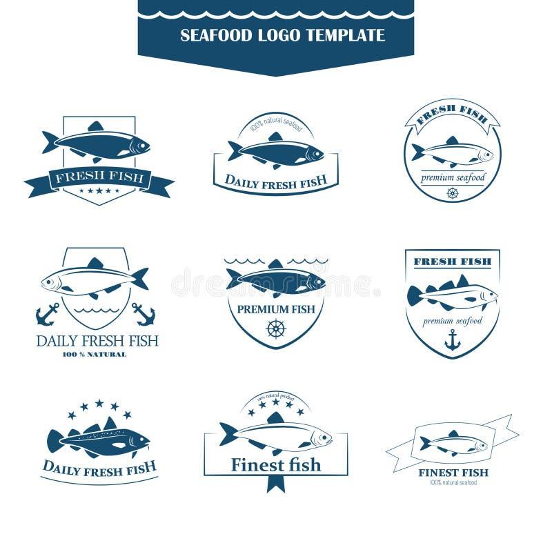 Havs- logomall stock illustrationer