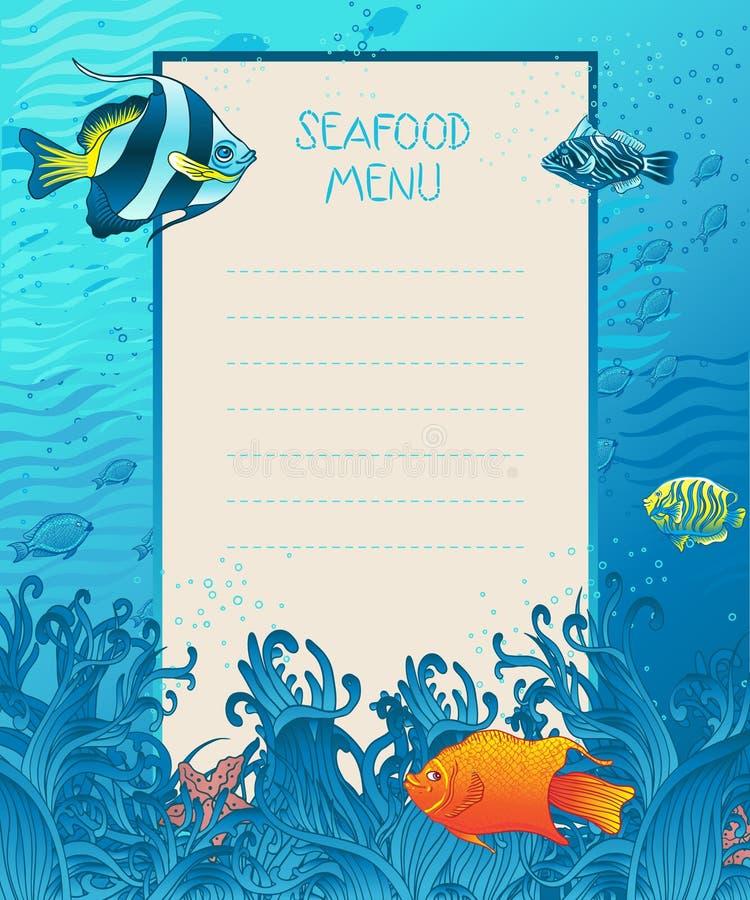 Havs- mall för menydesignbakgrund stock illustrationer