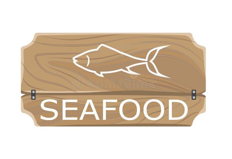 Havs- mallaffisch med fisktecknet ombord vektor illustrationer