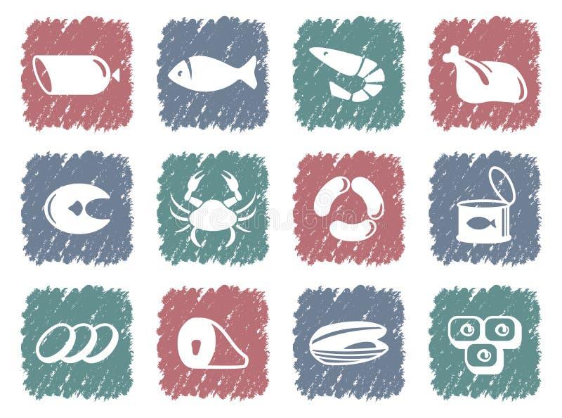 havs- meatprodukter royaltyfri illustrationer