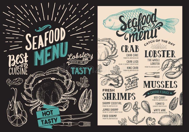 Havs- meny för restaurang Vektormatreklamblad för stång och kafé royaltyfri illustrationer