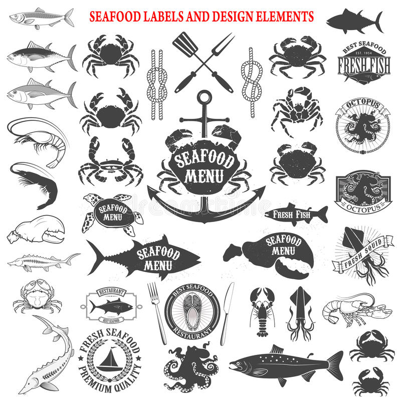 Havs- menyetikettuppsättning Planlägg beståndsdelar för logoen, etiketten, emblem vektor illustrationer